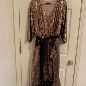 Rose Gold Sequin Faux Wrap Dress by Lane Bryant